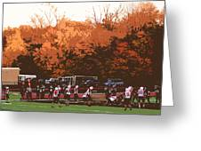 Autumn Football With Cutout Effect Greeting Card