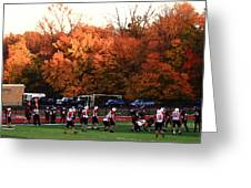 Autumn Football With Dry Brush Effect Greeting Card
