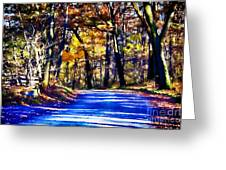 Autumn Forest Road V6 Greeting Card