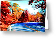 Autumn Forest Road V7 Greeting Card