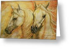 Autumn Horses Greeting Card by Silvana Gabudean Dobre