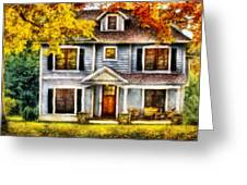 Autumn - House - Cottage  Greeting Card by Mike Savad