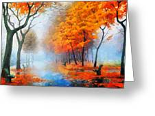 Autumn In The Morning Mist Greeting Card