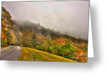 Autumn Just Around The Bend Blue Ridge Parkway In Nc Greeting Card