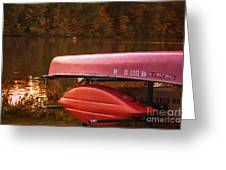 Autumn Kayaks On Newport Lake Greeting Card