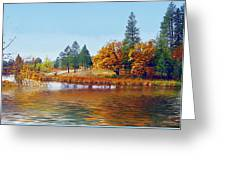 Autumn Lake In The Woods Greeting Card