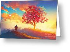 Autumn Landscape With Alone Tree On Greeting Card