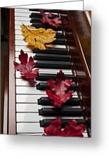 Autumn Leaves On Piano Greeting Card by Garry Gay