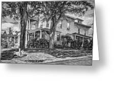 Autumn Mansion 4 - Paint Bw Greeting Card