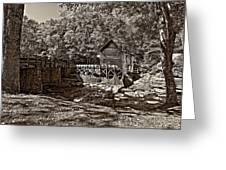Autumn Mill Sepia Greeting Card