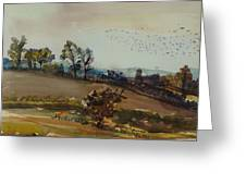 Autumn Mood, 1980 Wc On Paper Greeting Card