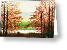 Autumn On The Ema River Estonia Greeting Card