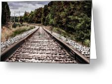 Autumn On The Railroad Tracks Greeting Card