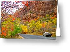 Autumn On Zion Canyon Scenic Drive In Zion National Park-utah  Greeting Card