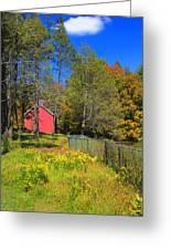 Autumn Red Barn Greeting Card by Joann Vitali