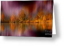 Autumn Reflection Digital Photo Art Greeting Card