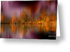 Autumn Reflection Digital Photo Art Greeting Card