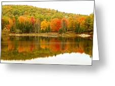 Autumn Reflection Panoramic View Greeting Card