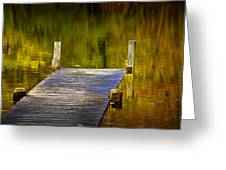 Autumn Reflections And Boat Dock On A Pond Near Yankee Springs Michigan Greeting Card