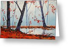 Autumn River Painting Greeting Card by Graham Gercken
