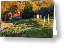 Autumn Road Morning Greeting Card