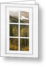 Autumn Rocky Mountain Glacier View Through A White Window Frame  Greeting Card