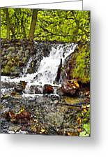 Autumn Scene With Waterfall In Forest Greeting Card
