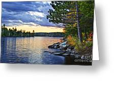 Autumn Sunset At Lake Greeting Card