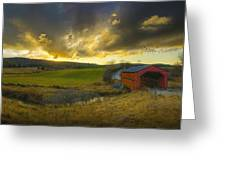 Autumn Sunset Over Meech Creek And Greeting Card