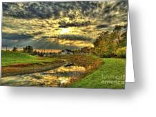 Autumn Sunset Reflection Greeting Card by Jim Lepard