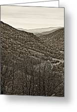 Autumn Valley Sepia Greeting Card