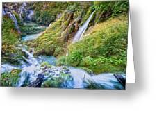 Autumn Valley Waterfalls Greeting Card