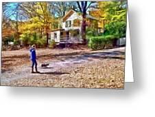 Autumn - Walking The Dog Greeting Card
