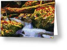 Autumn Waterfall Canvas Greeting Card
