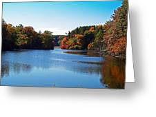 Autumn Waterway Greeting Card