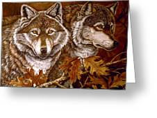 Autumn Wolves Greeting Card