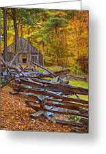 Autumn Wooden Fence Greeting Card