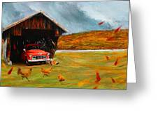 Autumnal Restful View-farm Scene Paintings Greeting Card