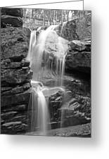 Avalanche Falls In Flume Gorge - Black And White Greeting Card