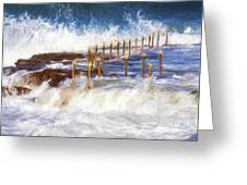 Avalon Rockpool With Crashing Waves Greeting Card