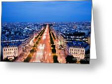 Avenue Des Champs Elysees In Paris Greeting Card