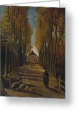 Avenue Of Poplars In Autumn Greeting Card