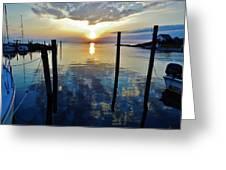 Avon Harbor Sunset Reflections 7/26 Greeting Card