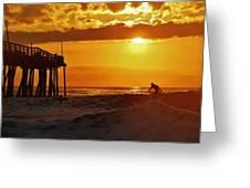 Avon Pier Sunrise Surfer 2 9/08 Greeting Card