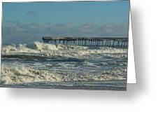 Avon Pier Ocean Pounding 3 2/08 Greeting Card