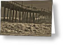 Avon Pier Stormy Sepia 3 10/13 Greeting Card
