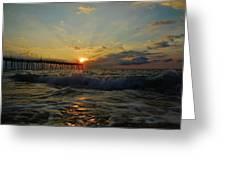Avon Pier Sunrise Morning Sunbeams 7/26 Greeting Card