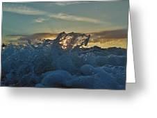 Avon Pier Sunrise Wave Splash 9/08 Greeting Card
