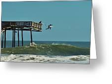 Avon Pier Surfers Leap 2 1/19 Greeting Card