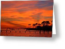 Awesome Fiery Sunset On Sound With Cirrus Clouds And Pines Greeting Card